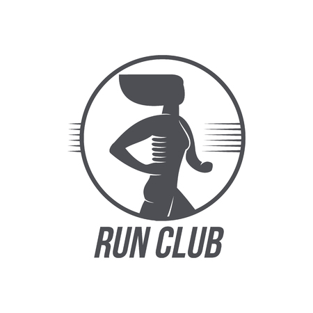 Sportive woman jogging, running marathon brand, logo design icon pictrogram silhouette. Female adult character illustration with run club inscription. Isolated flat illustration on a white background.