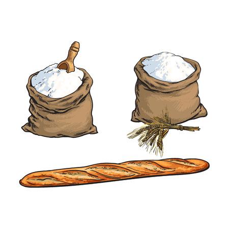 벡터 스케치 만화 가루 또는 설탕 삼 베 가방 또는 자루 나무 국자, 버 게 트 빵 빵 덩어리, 밀 귀 설정. 흰색 배경에 고립 된 그림입니다. 베이커리 메뉴