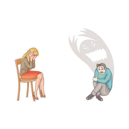 vector flat people suffering from mental illness set. Man sitting holding his knees with monster shadow behind in depression fear, woman crying in grief. Isolated illustration on a white background.