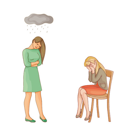 vector flat cartoon women suffering from depression. Unhappy female character with rainy clouds above her, girl crying at chair. Isolated illustration on a white background. Mental illness concept