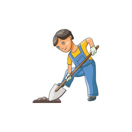 Tiener die in het tuinieren handschoenen grond met schop graven, vlakke beeldverhaal vectorillustratie die op witte achtergrond wordt geïsoleerd. Volledig lengteportret van jongen, jong geitje, kind gravende grond, die in tuin helpen