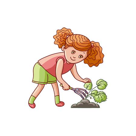 熊手、園芸植物、白い背景で隔離のフラット漫画ベクトル図の世話で地面をスクラッチの女の子。ガーデニング、イチゴ植物を気遣うことの女の子