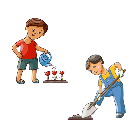 vector flat children at garden scene set. teen boy in worksuit digging the hole by shovel for a plant, another one watering tulip flowers by watering can. Isolated illustration on a white background.