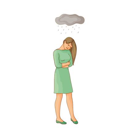 vector platte cartoon jonge vrouw die lijdt aan een depressie. Ongelukkig vrouwelijk karakter met regenachtige wolken boven haar. Geïsoleerde illustratie op een witte achtergrond. Geestelijke ziekte concept Stock Illustratie
