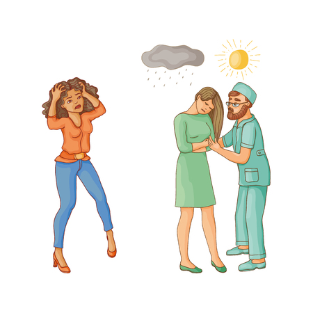 vector flat mental illness set. Male doctor calming down unhappy woman feel rain above showing her sun, girl with mental problem holding her head. Isolated illustration on a white background. Illustration