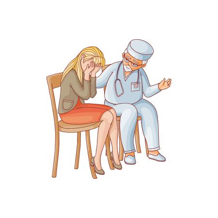 ベクトル フラット医者赤いスカートを着て椅子に座って泣いている女性を心を落ち着かせる。悲しみに苦しむ不幸な女性キャラクター。白い背景に