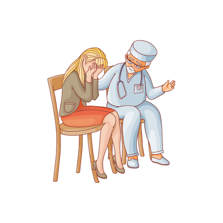vector flat doctor calming down woman in red skirt crying sitting at chair. Unhappy female character suffering from grief. Isolated illustration on a white background. Mental illness concept