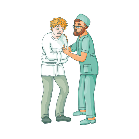 dangerous man: vector flat doctor hugging man in Psychiatric hospital, mental patient uniform and straitjacket suffering from anxiety. Isolated illustration on a white background. Mental illness concept