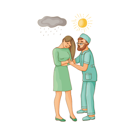 vector flat cartoon doctor showing sun to woman suffering from depression. Unhappy female character with rainy clouds above her. Isolated illustration on a white background. Mental illness concept Illustration