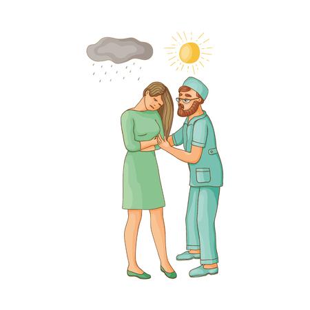 vector platte cartoon arts toont zon aan vrouw die lijdt aan een depressie. Ongelukkig vrouwelijk karakter met regenachtige wolken boven haar. Geïsoleerde illustratie op een witte achtergrond. Geestelijke ziekte concept