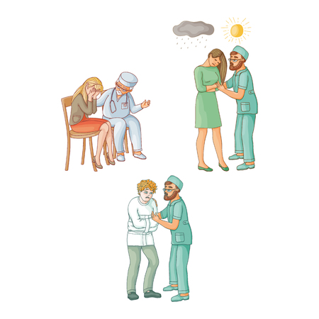 vector flat doctor calming woman crying grieving sitting at chair, man showing sun to girl with depression, mental specialist holding man in straitjacket. Isolated illustration on a white background