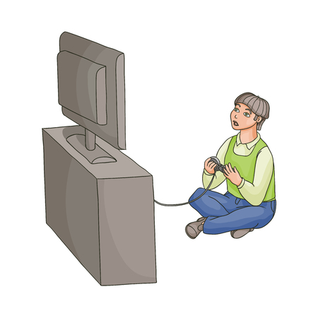 Teenage boy playing game console using TV and joystick sitting on the floor, flat cartoon vector illustration isolated on white background. Full length portrait of teenage boy playing game console Illustration