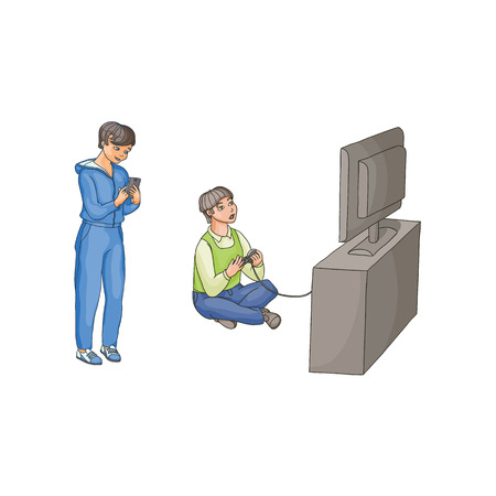 vector flat cartoon teen boy playing video console game by joystick sitting near tv panel stand, kid using smartphone Isolated illustration on a white background. modern digital visual technology Ilustrace