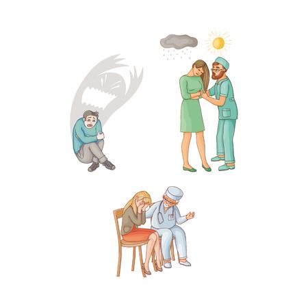 벡터 플랫 의사 여자의 자에 앉아 슬픈 우울증, 여자 괴물 그림자 뒤에 앉아 함께 태양을 보여주는 남자의 자에 앉아 슬픔. 흰 배경에 고립 된 그림
