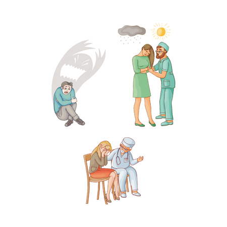 vector flat doctor calming woman crying grieving sitting at chair, man showing sun to girl with depression, boy sitting with monster shadow behind. Isolated illustration on a white background
