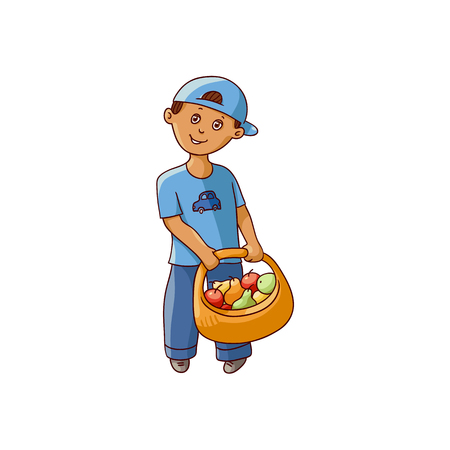vector flat cartoon boy kid in blue cap holding wicker basket with collected fruits and vegetables smiling. Isolated illustration on a white background. Children at garden concept.