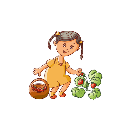 vector flat cartoon girl kid in yellow dress holding wicker basket collecting strawberries from bush smiling. Isolated illustration on a white background. Children at garden concept.