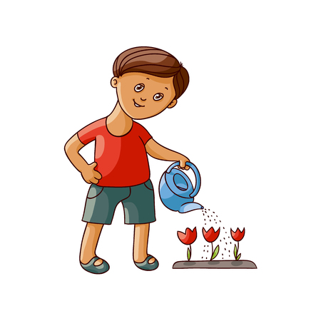 vector flat cartoon boy kid watering tulip flowers with watering can smiling. Isolated illustration on a white background. Children at garden concept.