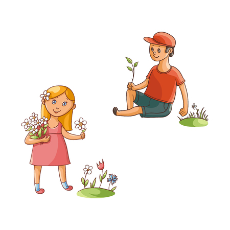 vector flat cartoon teen children - boy and girl collecting field flowers - chamomile, cornflowers at summer. Kids at farm concept. Isolated illustration on a white background. Ilustracja