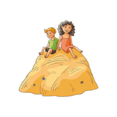 vector flat cartoon teen children - boy and girl sitting at big stack of hay at summer. Kids at farm concept. Isolated illustration on a white background. Çizim