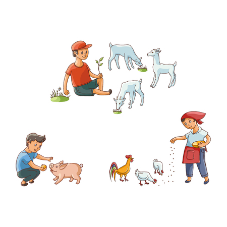 vector flat teen children at countryside scenes set. boy shepherd farmer sitting at meadow grazing goats on pasture, girl, boy feeding chickens and pig. Isolated illustration on a white background.