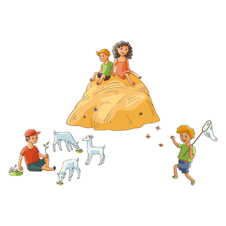 vector flat children at countryside scenes set. boy sitting at meadow grazing goats, children sitting at haystack, boy catching butterflies with net. Isolated illustration on a white background.