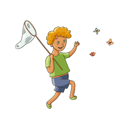 少年は、子供を実行し、白い背景で隔離ネット、フラット漫画ベクトル イラスト蝶をキャッチの完全な長さの肖像画。虫取り網で蝶をキャッチ幸せ  イラスト・ベクター素材
