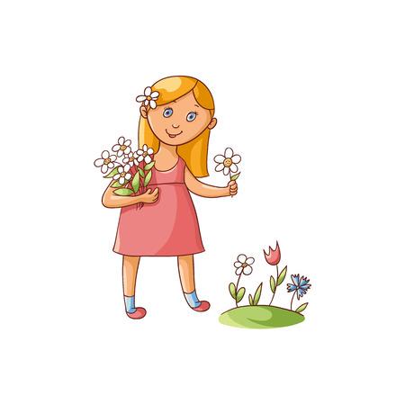 フィールド、白い背景で隔離のフラット漫画ベクトル図に花を摘み、夏のドレスでかわいい女の子。手の描かれた漫画少女の春、夏の庭の花をつん