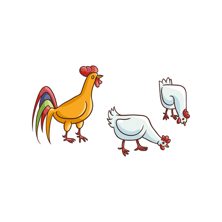 vector cartoon hand drawn sketch brown colored rooster, white chickens set. Isolated illustration on a white background. Farm poultry chicken Illustration
