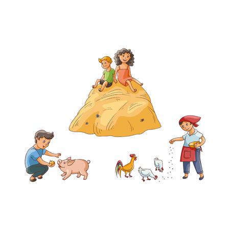 벡터 평면 하이 틴 시골 장면에서 설정합니다. 소년 돼지, 닭 및 수탉, 먹이를 먹이를 소년 큰 덤불에 앉아. 흰색 배경에 고립 된 그림입니다.
