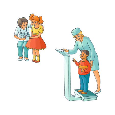 vector flat Woman pediatrician and teen kids scenes set. Female doctor measuring the weight of boy child, another doctor calming down girl, giving lollipop. Isolated illustration on a white background