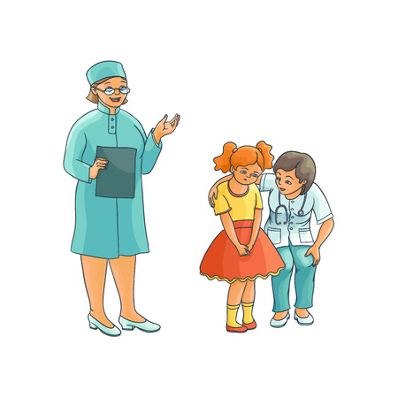 vector flat cartoon female doctor calming down nervous teen girl kid in hospital. Woman pediatrician in medical clothing with clipboard speaking set. Isolated illustration on a white background. Иллюстрация