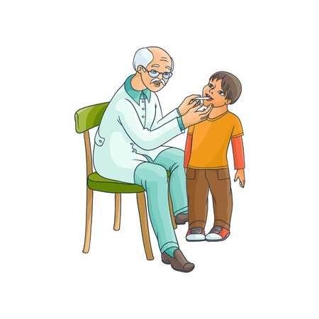 벡터 평면 만화 남성 회색 - 머리 의사를 검사 십 대 소년 아이 온도 입으로 온도계. 의료 의류 및 자식 소아과 남자입니다. 흰 배경에 고립 된 그림