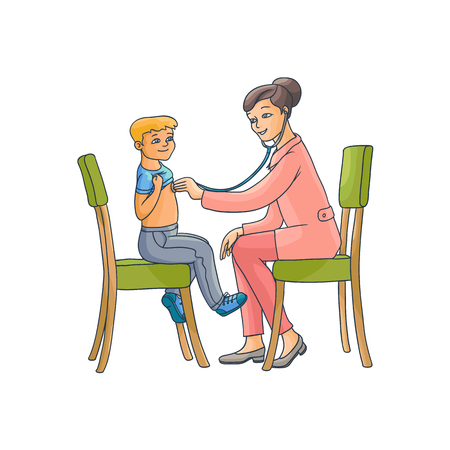 vector flat cartoon female doctor with stethoscope examining teen boy kid lungs sitting at chairs. Woman pediatrician in medical clothing and child. Isolated illustration on a white background. Illustration