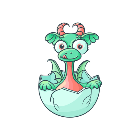 vector flat cartoon funny dragon kid, baby with horns and wings hatching from egg sticking out tongue. Isolated illustration on a white background. Fairy mysterious cute creature character for design