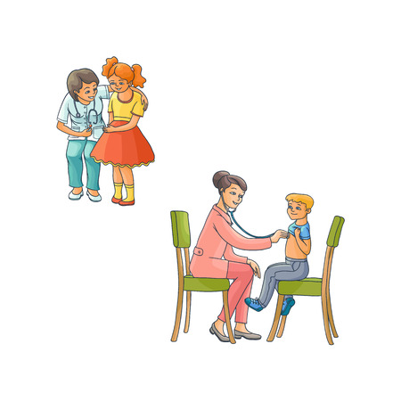 vector flat Woman pediatrician, teen kids scenes set. Female doctor calming down nervous girl child, another doctor examining boy lungs sitting at chairs. Isolated illustration on a white background