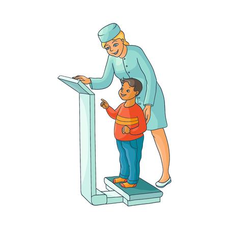 벡터 평면 만화 여성 의사 검토 십 대 소년 아이가 무게. 여자 의료 의류 및 자식 소아과입니다. 흰색 배경에 고립 된 그림입니다.