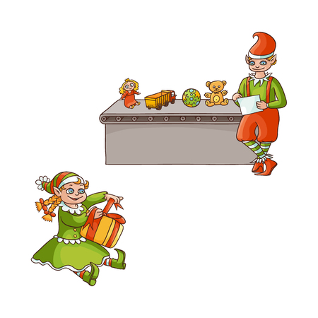 vector flat cartoon hand drawn christmas elves scenes set. boy standing near conveyor with holiday present toys listing, girl sitting with present box. Isolated illustration on a white background