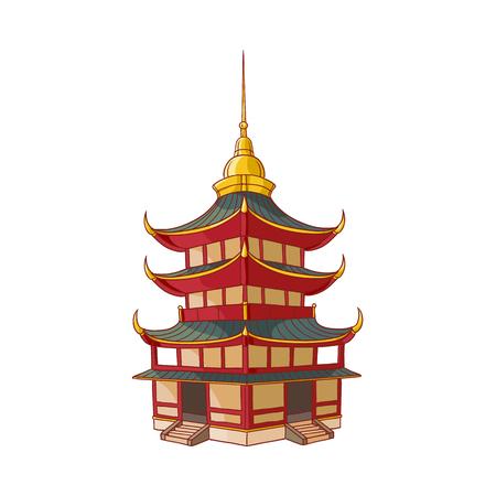 伝統的な日本、中国、アジアのパゴダの建物、白の背景に分離フラットスタイルのベクトルイラスト。伝統的な日本、中国、アジアのパゴダビル  イラスト・ベクター素材