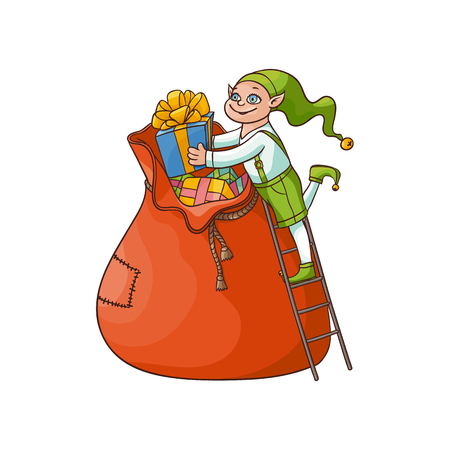 vector flat cartoon hand drawn christmas elf boy folding golden bow present boxes in big bag smiling. Fairy holiday character in christmas santa hat. Isolated illustration on a white background