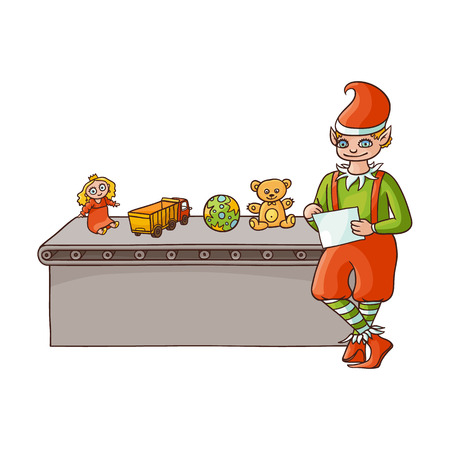 vector flat cartoon hand drawn christmas elf boy standing near conveyor with holiday present toys listing. Fairy holiday character in christmas santa hat. Isolated illustration on a white background
