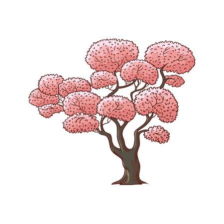 Blossoming pink cherry, sakura tree, flat cartoon vector illustration isolated on white background. Hand drawn cherry, sakura tree with pink blossoms, symbol of Japanese culture