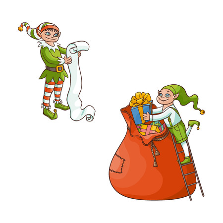 vector flat cartoon hand drawn christmas elf boy in santa hat folding golden bow present boxes in big bag, another elf holding big paper scroll smiling . Isolated illustration on a white background