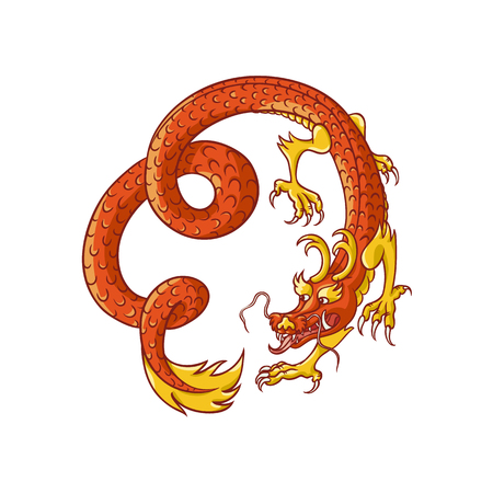 chinese astrology: Flying red and gold Chinese, Japanese dragon, hand drawn vector illustration isolated on white background. Traditional Japanese, Chinese, Asian red and gold dragon flying in spiral