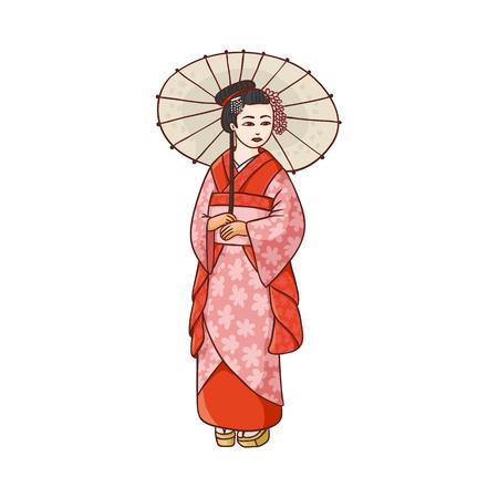 Full length portrait of beautiful geisha in Japanese kimono with paper umbrella, cartoon vector illustration on white background. Beautiful Japanese, Asian geisha, woman in kimono with umbrella