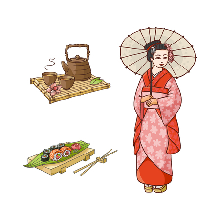 vector flat asian japan, china oriental symbols concept set. Geisha with folding fan, sushi with ginger, wasabi and kettle with caps for tea ceremony. Isolated illustration on a white background. Illustration