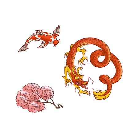 Aziatisch Japan, het symboolreeks van de oosterse symbolen van China. Rode draak zonder vleugels, traditionele koikarper, sakuratak met bloeiende bloemen. Geïsoleerde platte vectorillustratie op een witte achtergrond.