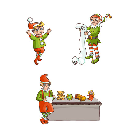 vector flat hand drawn christmas elf boy in santa hat dancing jumping, another character holding big paper scroll, elf checking toys presents listing. Isolated illustration on a white background Иллюстрация