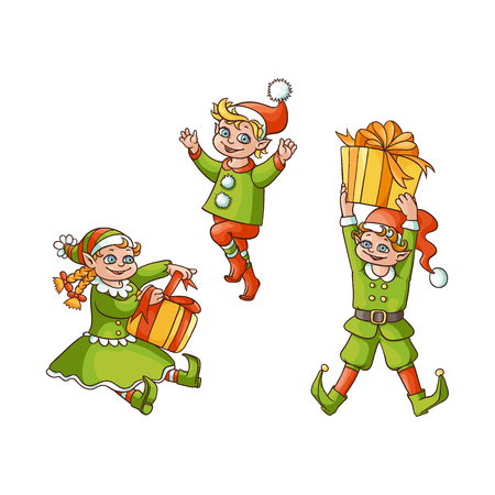 vector flat cartoon hand drawn christmas elves scenes set. boy standing holiday present box, another one jumping and dancing girl sitting with present box. Isolated illustration on a white background