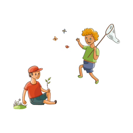 vector flat cartoon teen boys children at meadow scene - one kid collecting field flowers, another catching butterflies. Kids at countryside concept. Isolated illustration on a white background.
